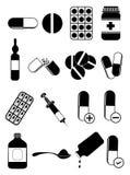 Medicine pills icons set Stock Image