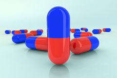 Medicine pills illustration. Red and blue Royalty Free Stock Photo