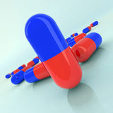 Medicine pills illustration. Red and blue Royalty Free Stock Images