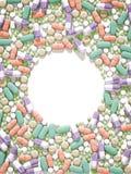 Medicine pills layout on white background Stock Image
