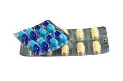 Medicine pills in packs.Pills in blister pack,Capsules and pill packed in blisters Stock Images