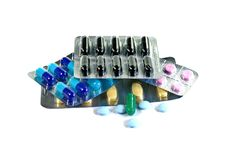 Medicine pills in packs.Pills in blister pack,Capsules and pill packed in blisters Royalty Free Stock Photo