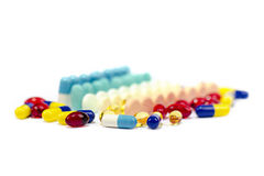 Medicine Pills. Pile of many medicine capsules and tablets stock images