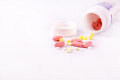 Medicine and pills scattered around Royalty Free Stock Image