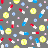 Medicine pills seamless vector pattern. Pills, drugs and vitamins. Stock Photography