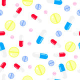 Medicine pills seamless vector pattern. Pills, drugs and vitamins. Stock Images