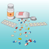 Medicine pills. Medicine  pills spilling out from the bottle Stock Photos