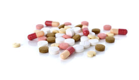 Medicine, pills, tablet and capsule on white Stock Photo