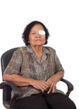 Medicine plaster patch on old woman injury wound eye Stock Image