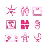 Medicine and pregnancy  line icons set. Baby and weighing,. Scales and uzi Royalty Free Stock Photo
