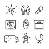 Medicine and pregnancy  line icons set. Eps10 Royalty Free Stock Photos