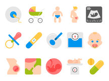 Medicine, pregnancy, motherhood vector flat icons. Medicine, pregnancy and motherhood vector flat icons set. Baby and weighing, scales and uzi, health medical Stock Photos
