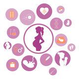 Medicine and pregnancy vector icons set Stock Image