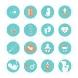 Medicine and pregnancy vector line icons set. Pregnancy and newborn baby icons set. Pregnancy and birth infographics element. Medicine and pregnancy vector icons Stock Photo