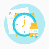 Medicine Prescription, Clock and Bottle with Pills Illustration Stock Images