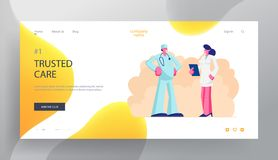 Medicine Profession Website Landing Page, Doctor in Medical Robe with Stethoscope Speaking Nurse in Clinic, Hospital Healthcare stock illustration