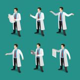 Medicine professional doctor at work flat 3d isometric vector Stock Image