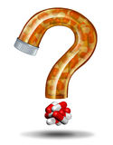Medicine Questions. And prescription drugs advice concept as a pill bottle shaped as a question mark as a health care metaphor for treatment and therapy Vector Illustration