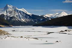 Medicine river with ice break at Spring Stock Photo