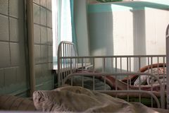 Medicine. Russia and the USSR. hospital beds. Beds and wall of tiles Stock Images