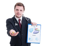 Medicine salesman offering pills and showing sales profit charts Stock Photos