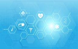 Medicine and science with abstract digital hi tech hexagons on blue background. Illustration vector Stock Photography