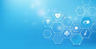 Medicine and science with abstract digital hi tech hexagons on blue background. Illustration vector Stock Photo