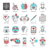 Medicine and Science Flat Line Icon Set Royalty Free Stock Photo