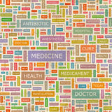 Medicine. Seamless pattern. Concept related words in tag cloud. Conceptual info-text graphic. Word collage Stock Photo