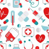 Medicine seamless pattern. Drugstore heart syringe pills capsules plaster medical symbols decorative wrapping paper seamless pattern design flat vector Stock Photos