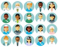 Medicine set with doctors and nurses avatars in flat style isolated on white background. Practitioner young doctors man and woman round icons. Medical staff Stock Image