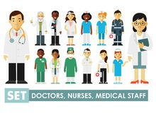 Medicine set with doctors and nurses in flat style  on blue background Stock Photo