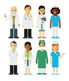 Medicine set with doctors and nurses in flat style isolated on white background. Practitioner young doctors man and woman standing. Medical staff Stock Image