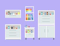 Medicine Set of Drawers Items Vector Illustration. Medicine set of drawers and items on them, documents and files with information, bottles of different colours Stock Photography