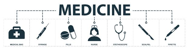 Medicine set icons collection. Includes simple elements such as Medical Bag, Syringe, Pills, Nurse, Stethoscope, Scalpel and. Pipette premium icons stock illustration