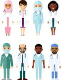 Medicine set of medical people, doctor and nurse. Vector illustration of medicine team practitioner, physician, nurse Stock Photos