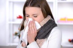 Medicine. Sick Woman.Flu.Woman Caught Cold. Sneezing into Tissue. Headache. Virus .Medicines Royalty Free Stock Images