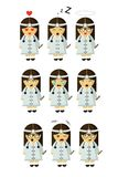 Medicine sister job little girl with nine emotions royalty free illustration