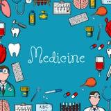 Medicine sketch background with medical symbols Royalty Free Stock Photos