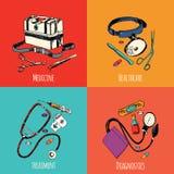 Medicine sketch icons color set Royalty Free Stock Photos