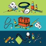 Medicine sketch icons color set Stock Photos