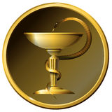 Medicine snake symbol. Metal gold or bronze. Medical symbol, gold or bronze snake with a cup in round frame Stock Photos