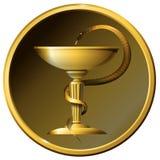 Medicine snake symbol. Metal gold or bronze. Stock Photos
