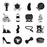 Medicine, sport, astronomy and other web icon in black style. Royalty Free Stock Photo