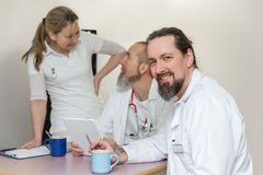 Medicine staff are having a break in the breakroom Royalty Free Stock Images