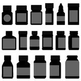 Medicine Storage Container Bottle. A set of medicine bottle and container in silhouette Royalty Free Stock Photography