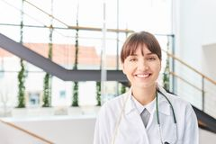 Medicine student in physician apprenticeship. At medical school hospital stock images