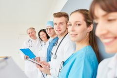 Medicine student or young doctor. With apprenticeship group Royalty Free Stock Image