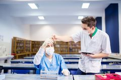 Medicine students carrying out experiments and comparing samples. Medicine students carrying out experiments and comparing tissue samples royalty free stock photo