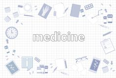 Medicine Stuff On Squared Notebook Paper Background Therapy Equipment Workplace Concept. Vector Illustration Royalty Free Stock Images